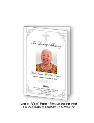 Grey Ornate Cross Memorial Funeral Card Template