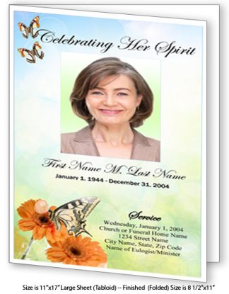 Beautiful Butterfly Large Tabloid Funeral Program Template