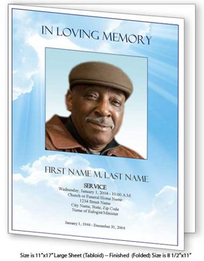 Blue Sky Large Tabloid Funeral Program Template