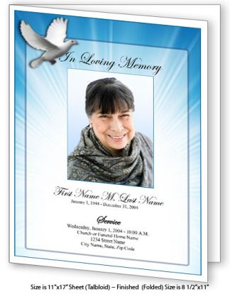Celestial Dove Large Tabloid Funeral Program Template