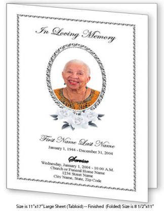 Classic Floral Large Tabloid Funeral Program Template