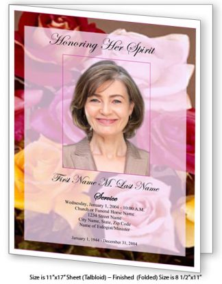Flowers of Devotion Large Tabloid Funeral Program Template