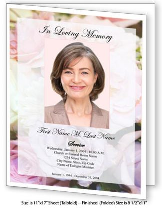 Pastel Memories Large Tabloid Funeral Program Template