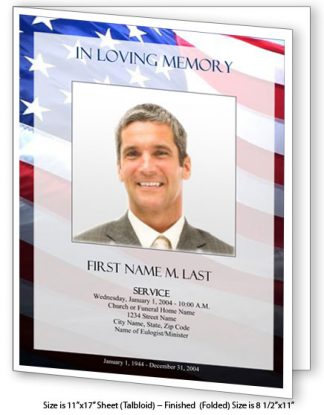 Patriotic (US) Large Tabloid Funeral Program Template