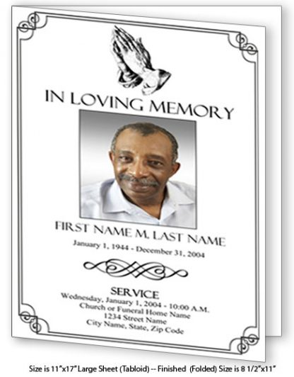 Praying Hands Large Tabloid Funeral Program Template