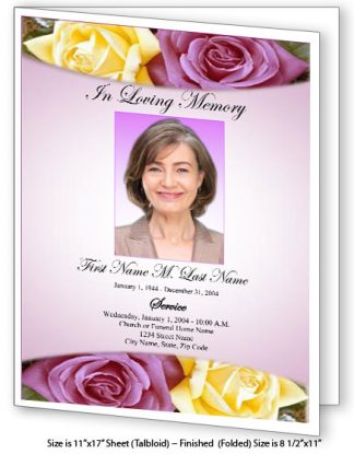 Lovely Purple Rose Large Tabloid Funeral Program Template