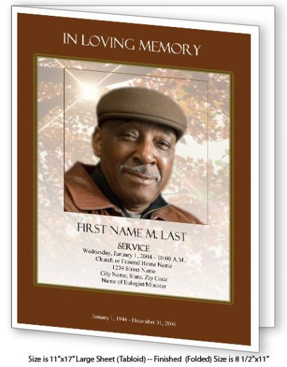 Ray of Sunshine Large Tabloid Funeral Program Template