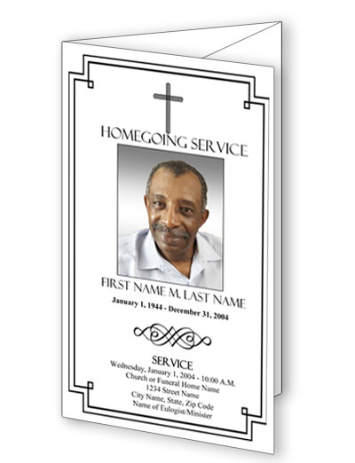 Classic Cross Trifold Funeral Program Template