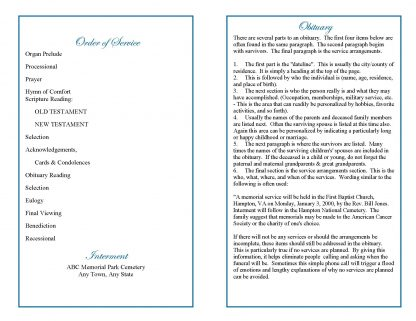 Dove Cross Bifold Funeral Program Template