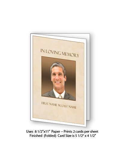 Tan Simplicity Memorial Funeral Card Template